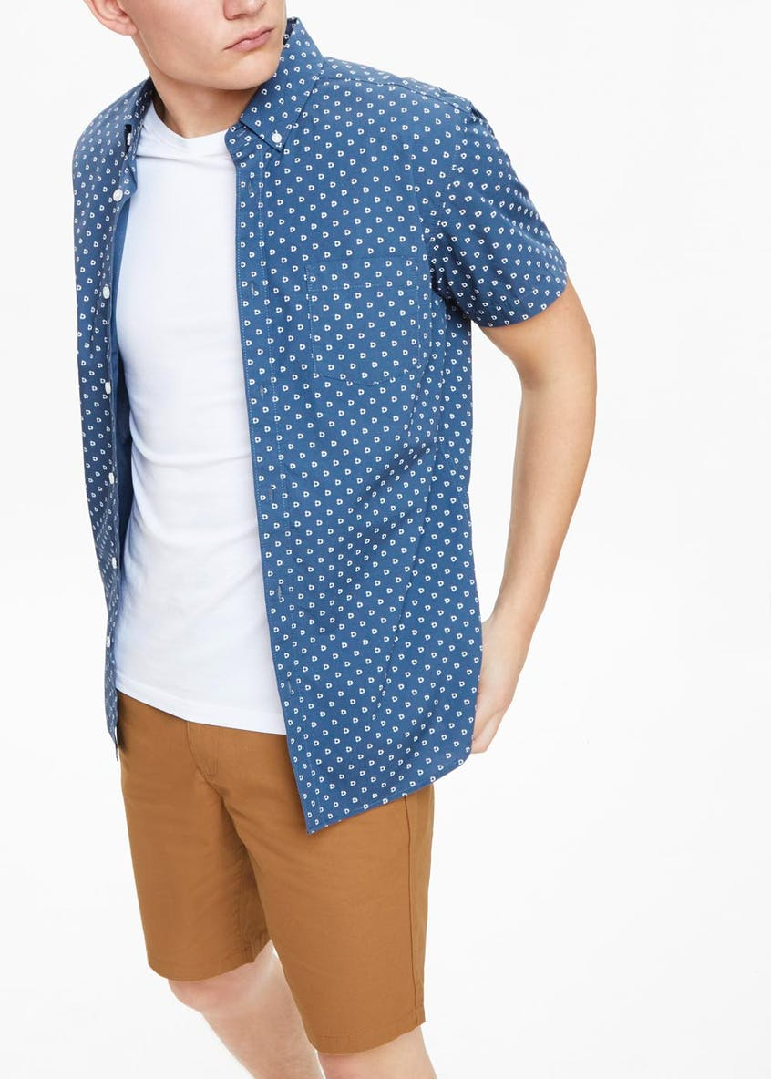Short Sleeve Printed Poplin Shirt