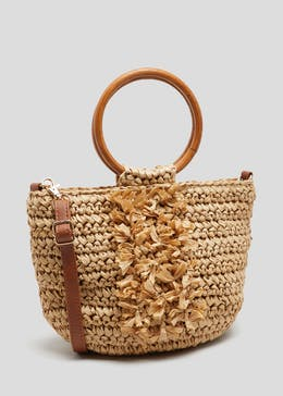 Ring Handle Straw Bag