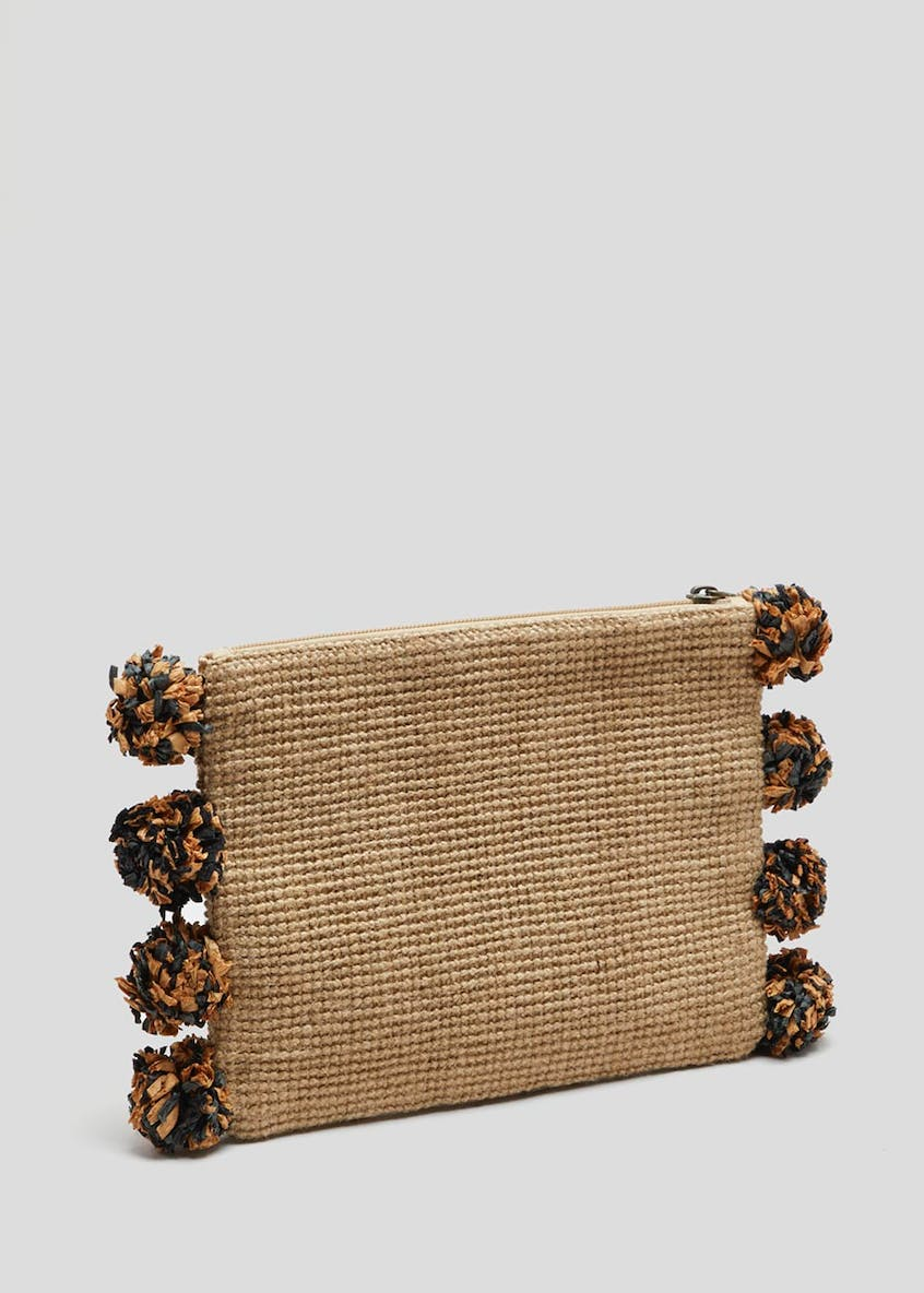 Pom Pom Jute Clutch Bag