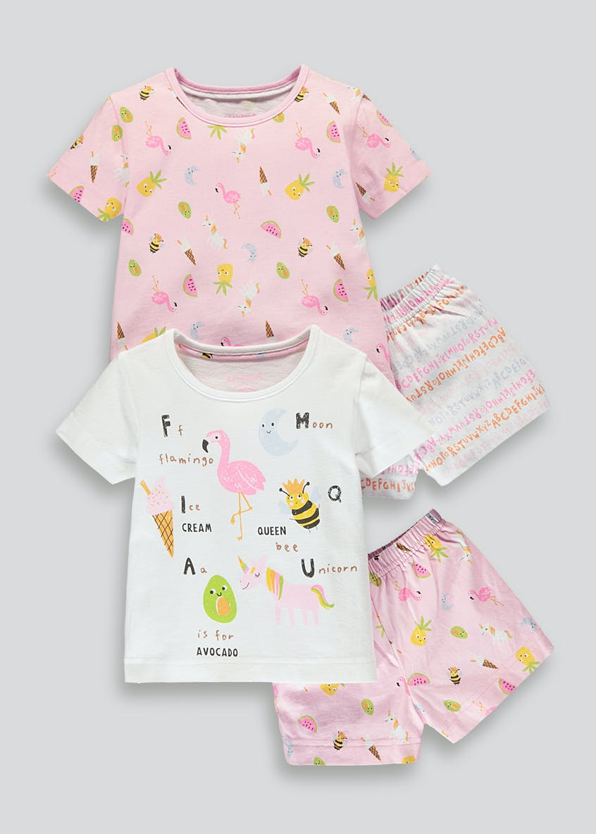 Girls 2 Pack Alphabet Pyjamas (9mths-5yrs)