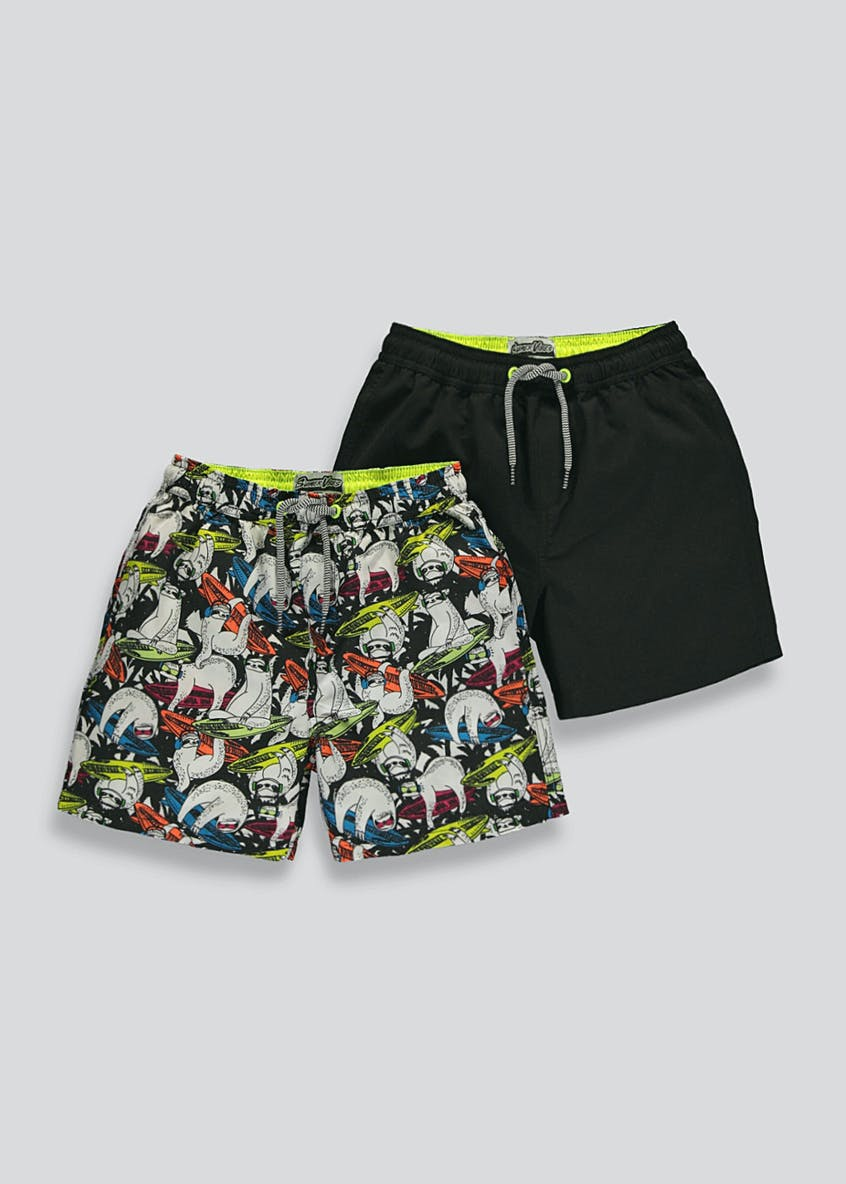 Boys 2 Pack Surf Sloth Swim Shorts (4-13yrs)