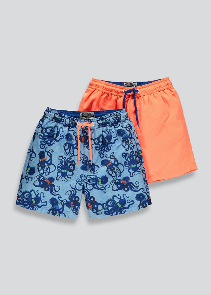 Boys 2 Pack Octopus Swim Shorts (4-13yrs)