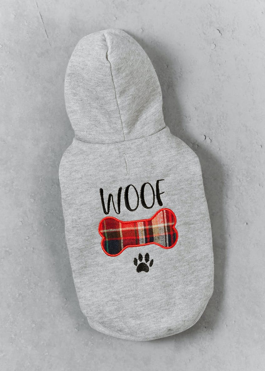 Woof Slogan Dog Hoodie (Small-Large)