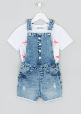 Girls Denim Dungarees & T-Shirt Set (4-13yrs)