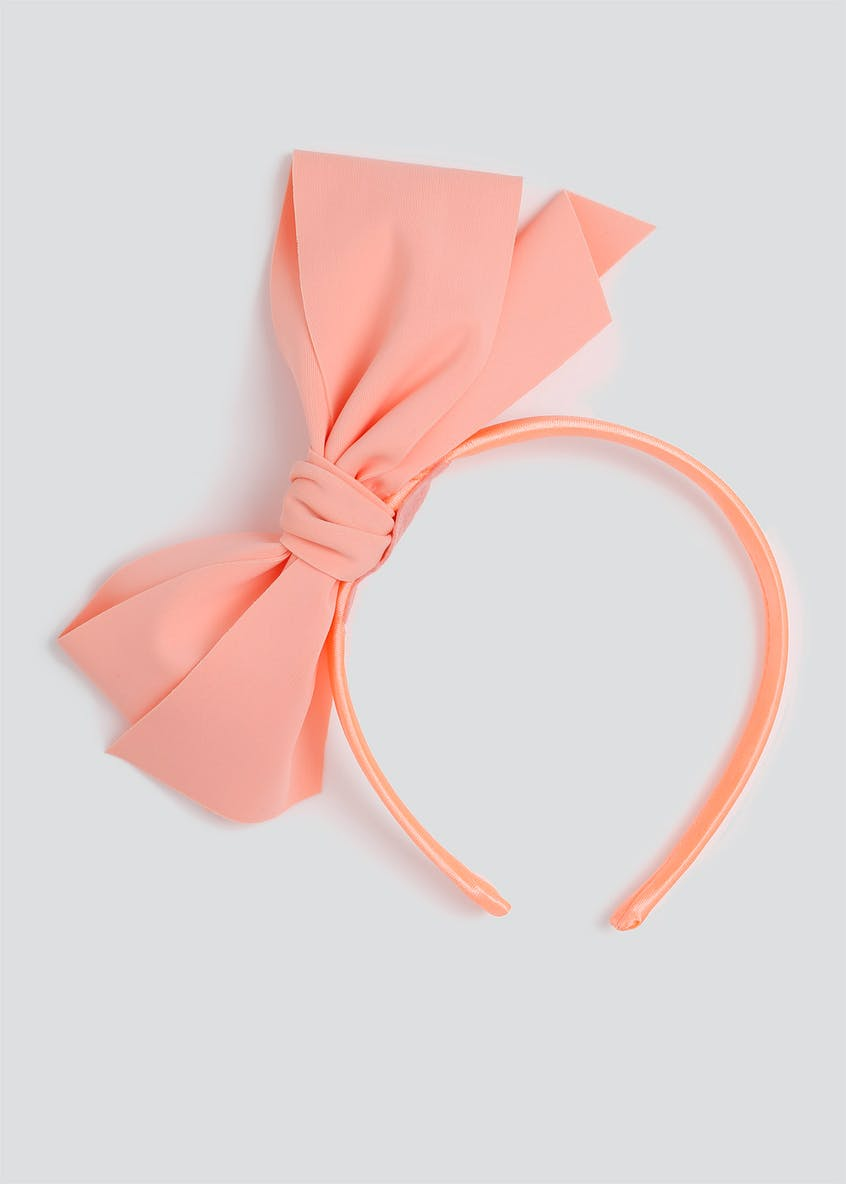 Girls Coral Big Bow Aliceband