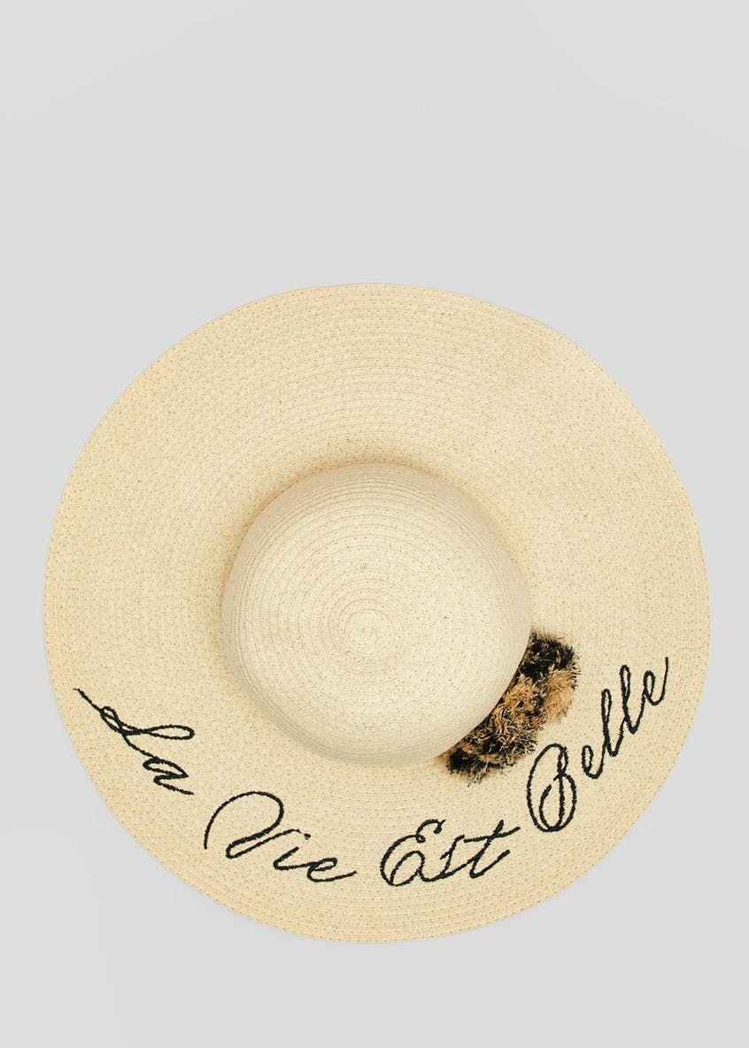 Slogan Straw Floppy Hat