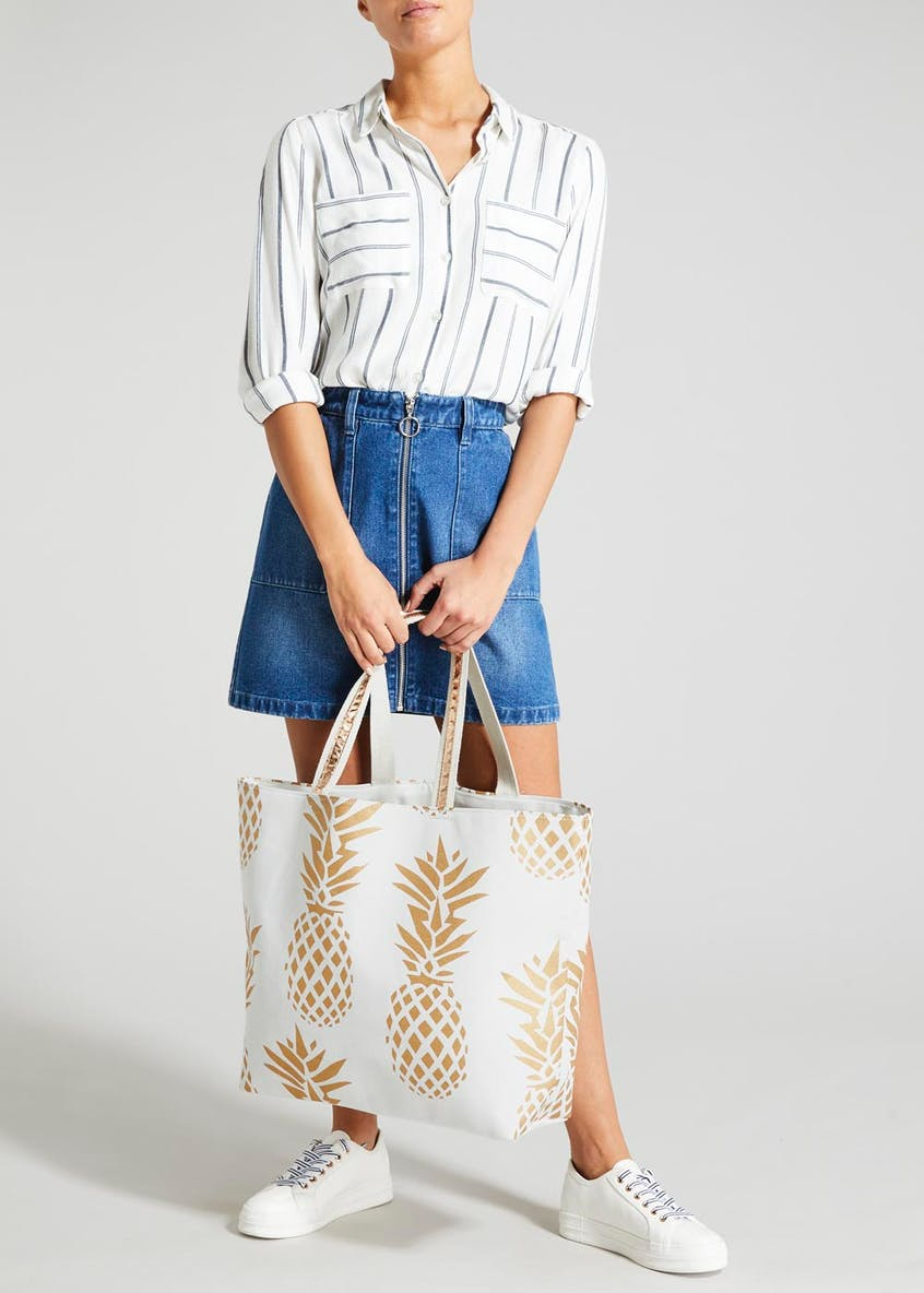 Pineapple Print Beach Bag