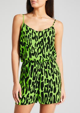 Animal Print Viscose Playsuit