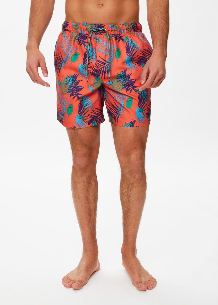 Tropical Leaf Print Swim Shorts
