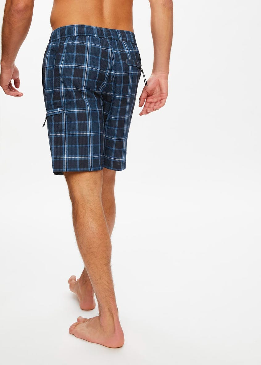 Check Seersucker Cargo Swim Shorts