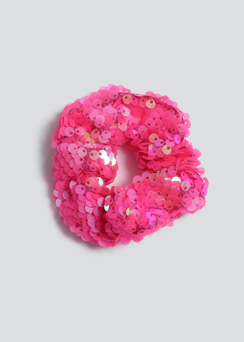 Girls Pink Sequin Scrunchie