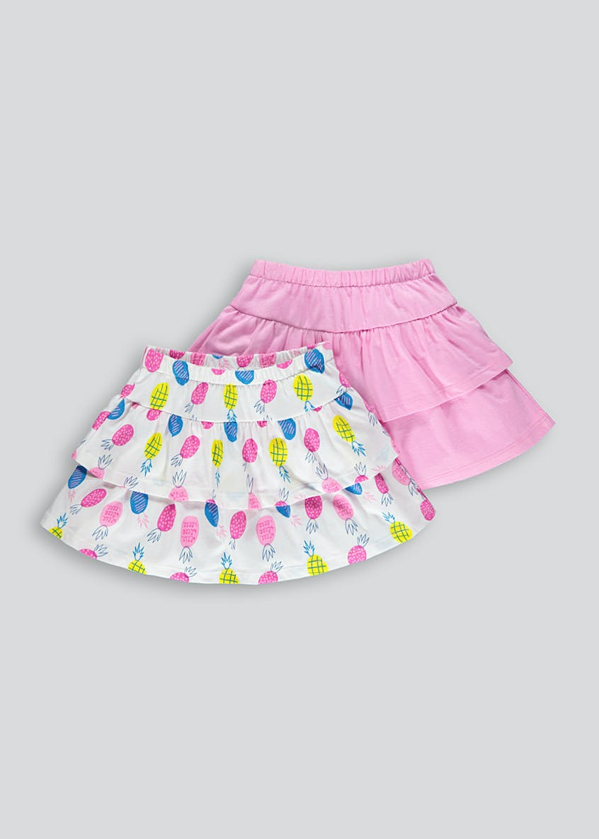 Girls 2 Pack Tiered Frill Skirts (9mths-6yrs)