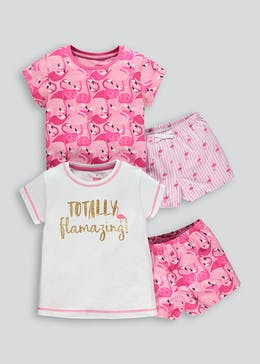 Girls 2 Pack Flamingo Print Short Pyjamas (4-13yrs)