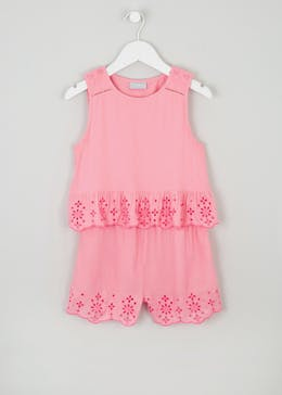 Girls Broderie Playsuit (4-13yrs)