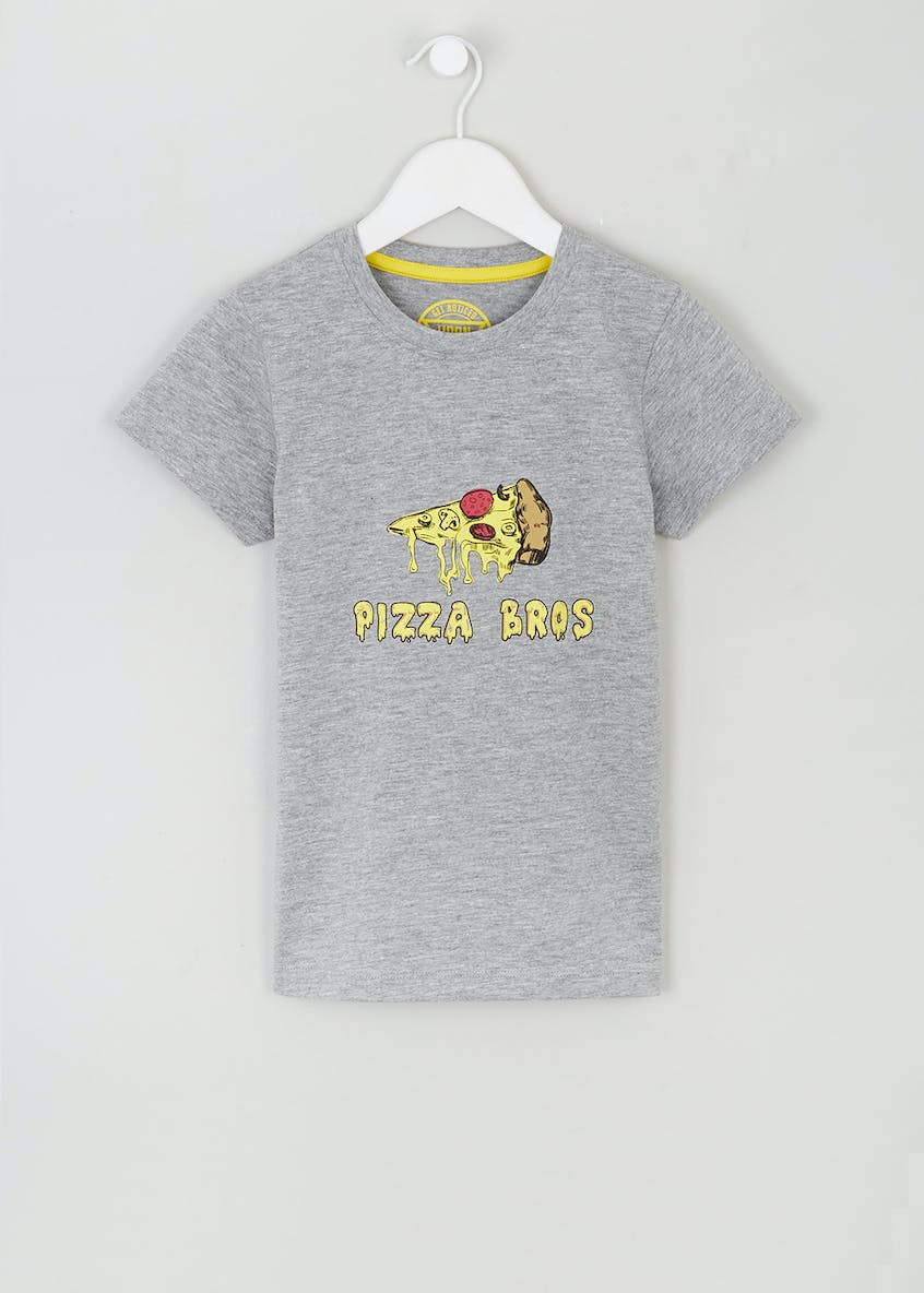 Kids Pizza Bros Slogan T-Shirt (4-10yrs)