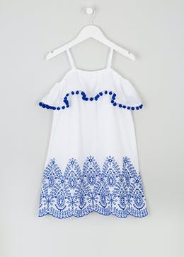 Girls Embroidered Bardot Dress (4-13yrs)