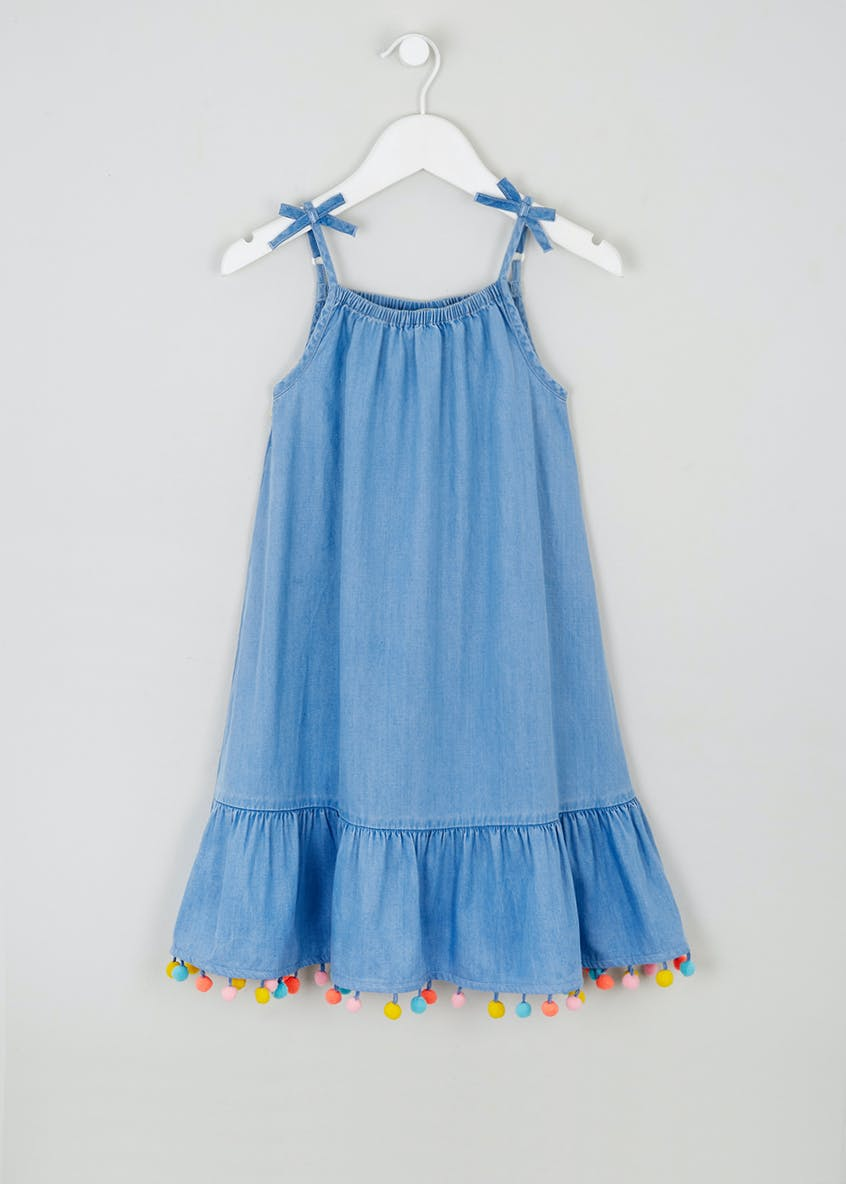 Girls Pom Pom Denim Dress (4-13yrs)