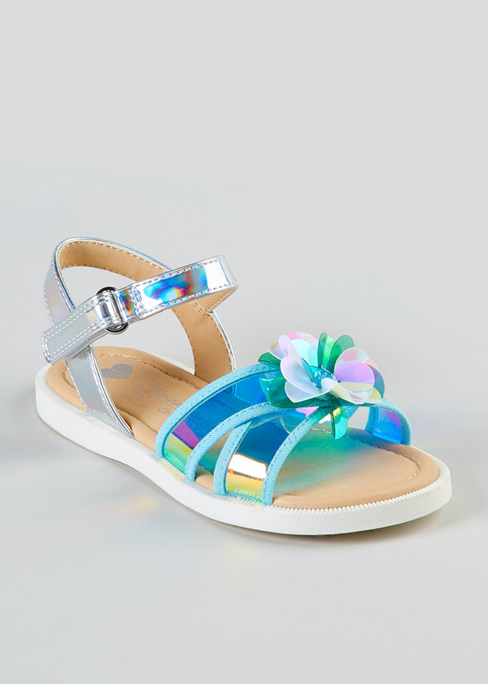 0321c7b01b00 Girls Perspex Flower Sandals (Younger 4-12) – Turquoise – Matalan