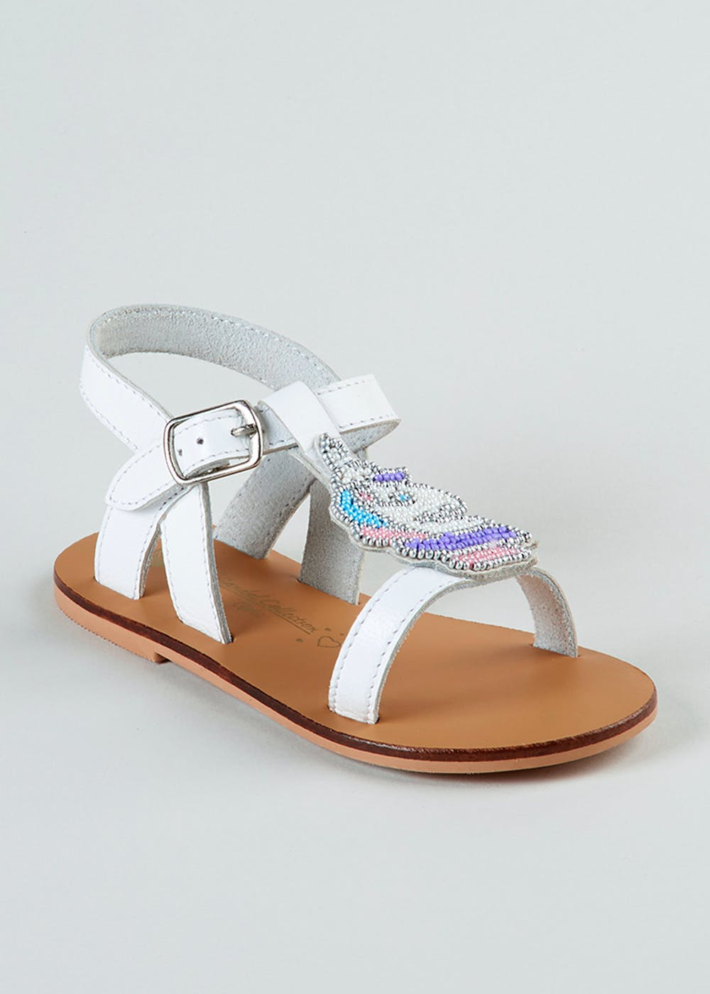 Girls Real Leather Unicorn Sandals