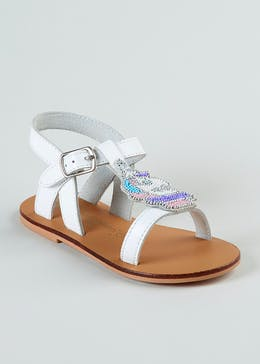 Girls Real Leather Unicorn Sandals (Younger 4-12)