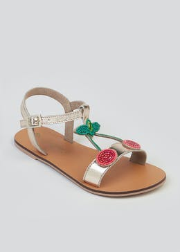 Girls Real Leather Cherry Embellished Sandals (Younger 4-12)