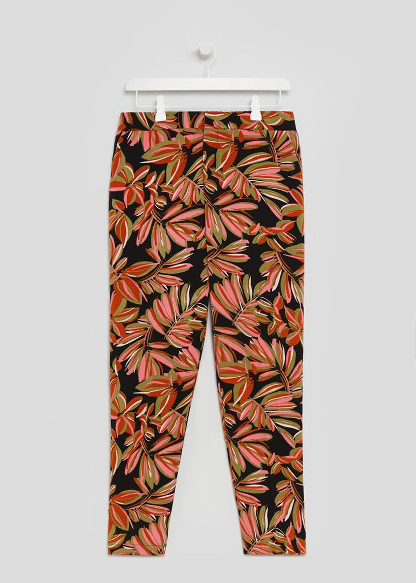 Leaf Print Tapered Trousers