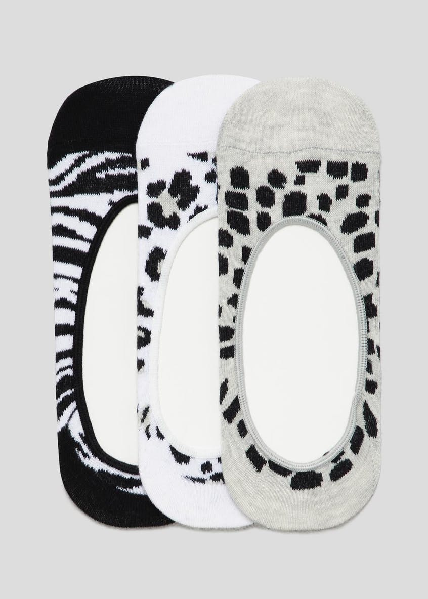3 Pack Animal Print Invisible Trainer Socks