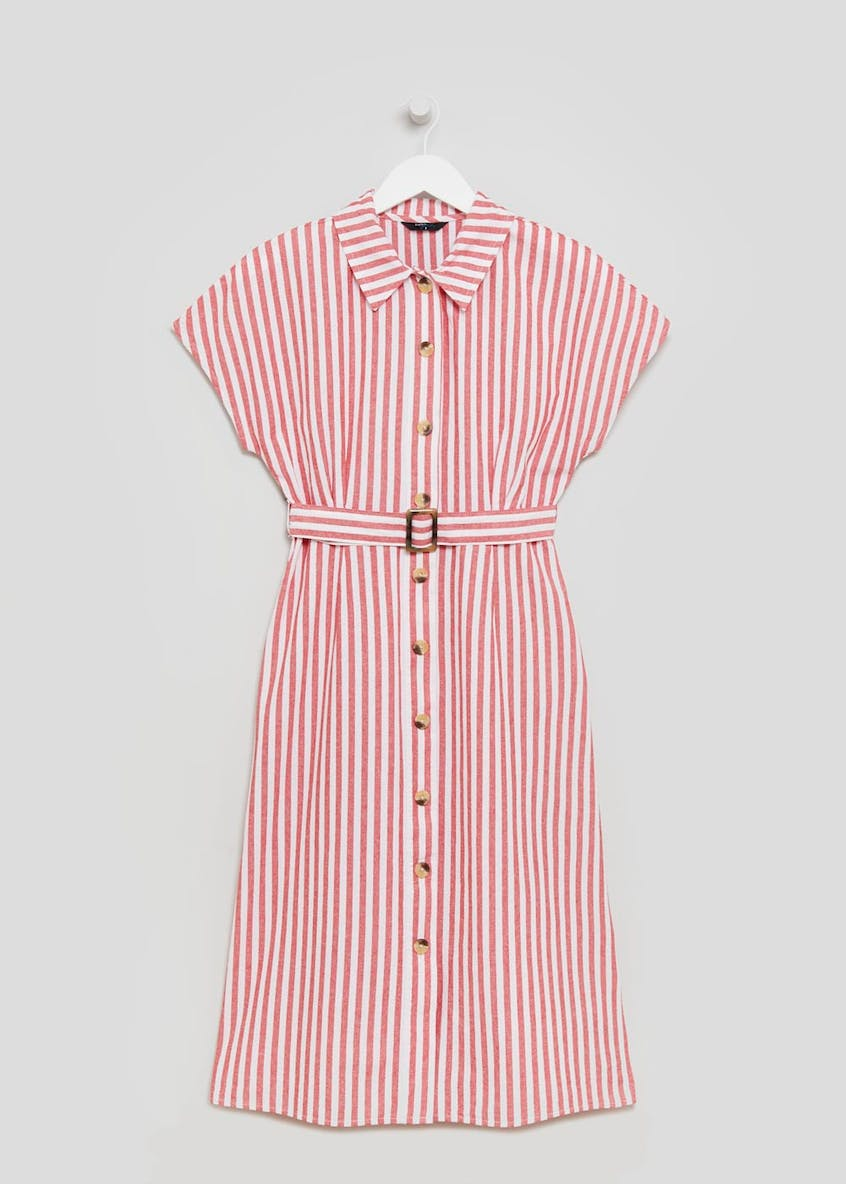 Papaya Petite Stripe Belted Shirt Dress