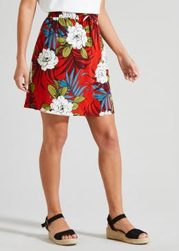 Floral Tie Front Viscose Skirt