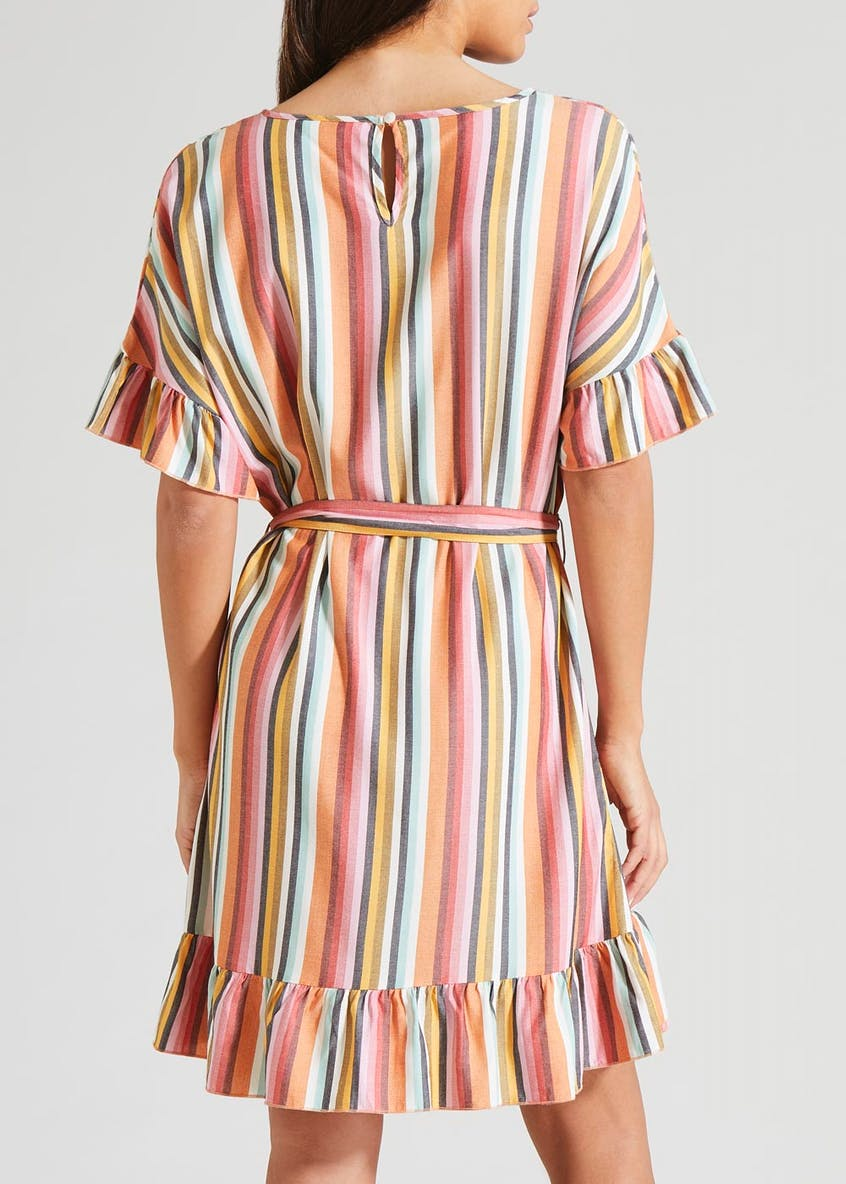 Stripe Ruffle Wrap Mini Dress