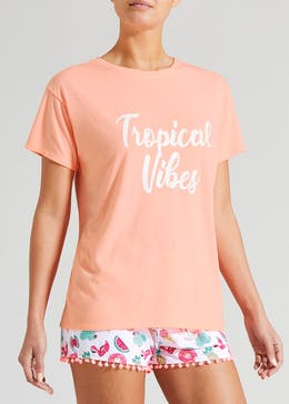 Tropical Vibes Slogan Pyjama Set