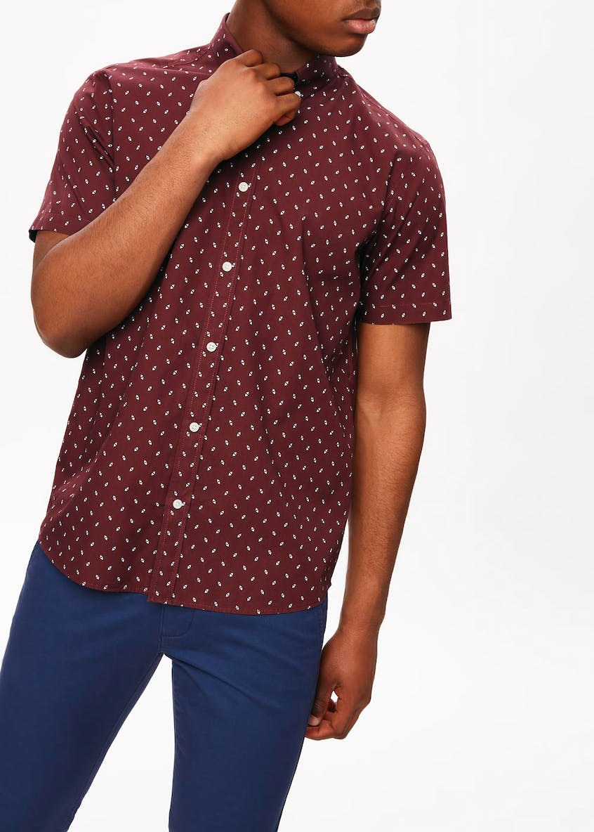 Short Sleeve Diamond Print Shirt