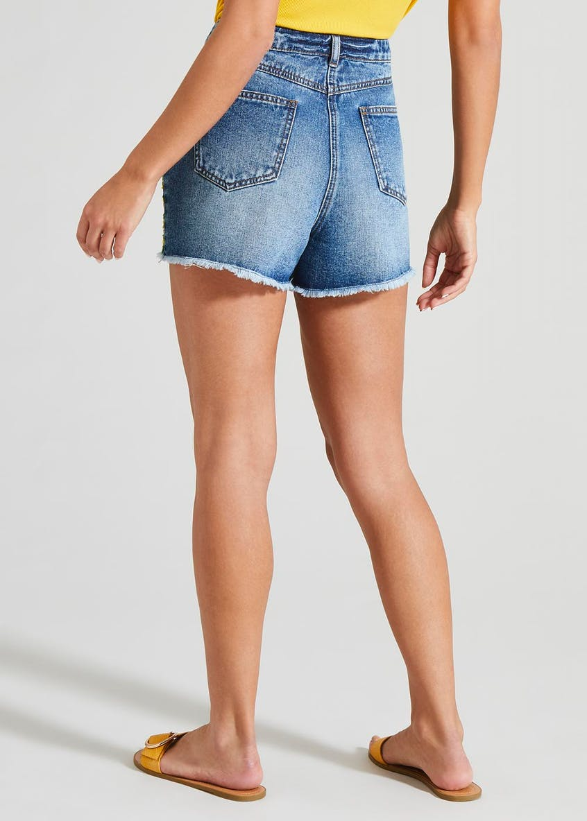Embroidered Side Tape Denim Shorts
