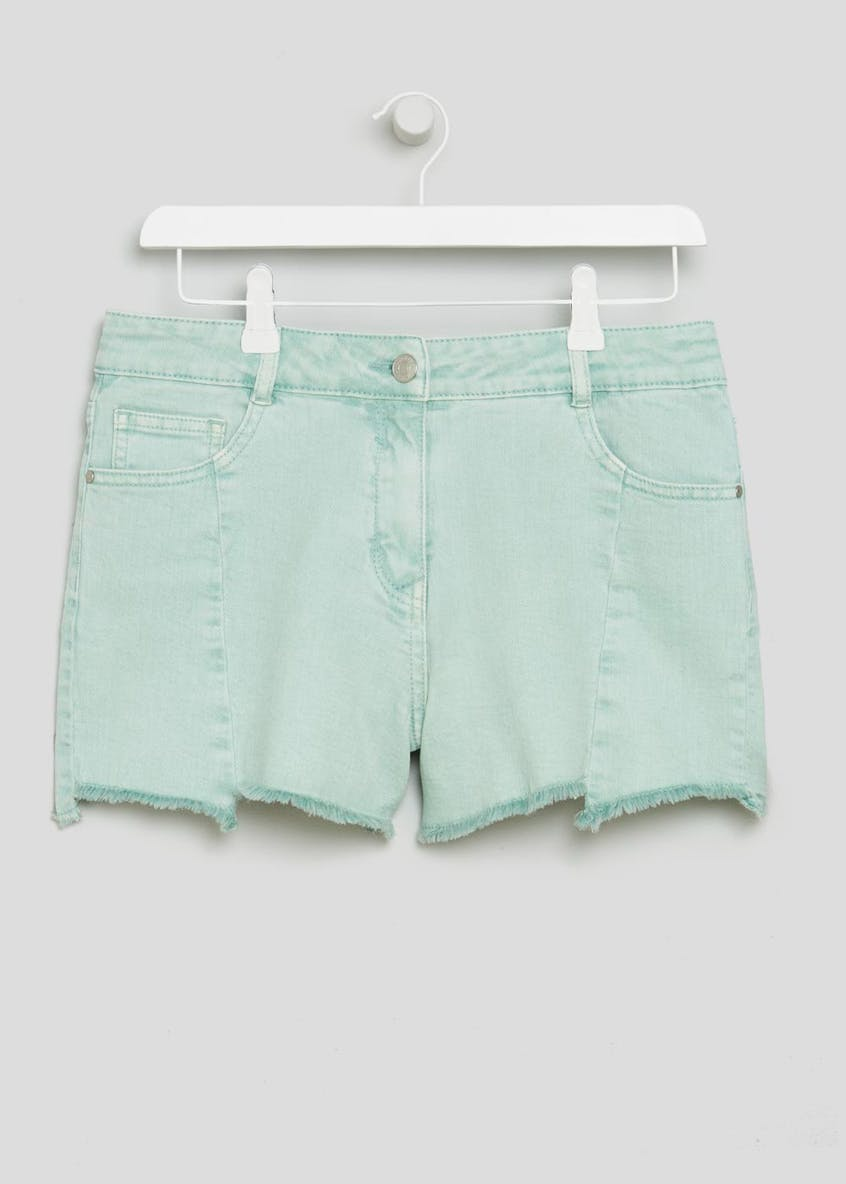 Staggered Hem Denim Shorts