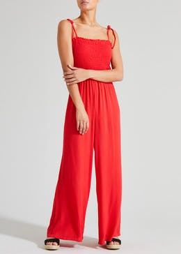 Sleeveless Shirred Jumpsuit