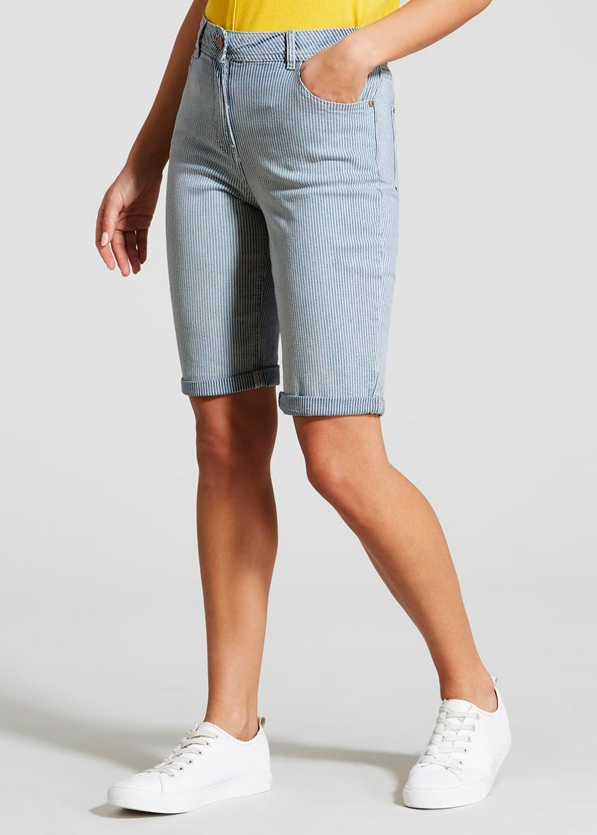Stripe Denim Knee Length Bermuda Shorts