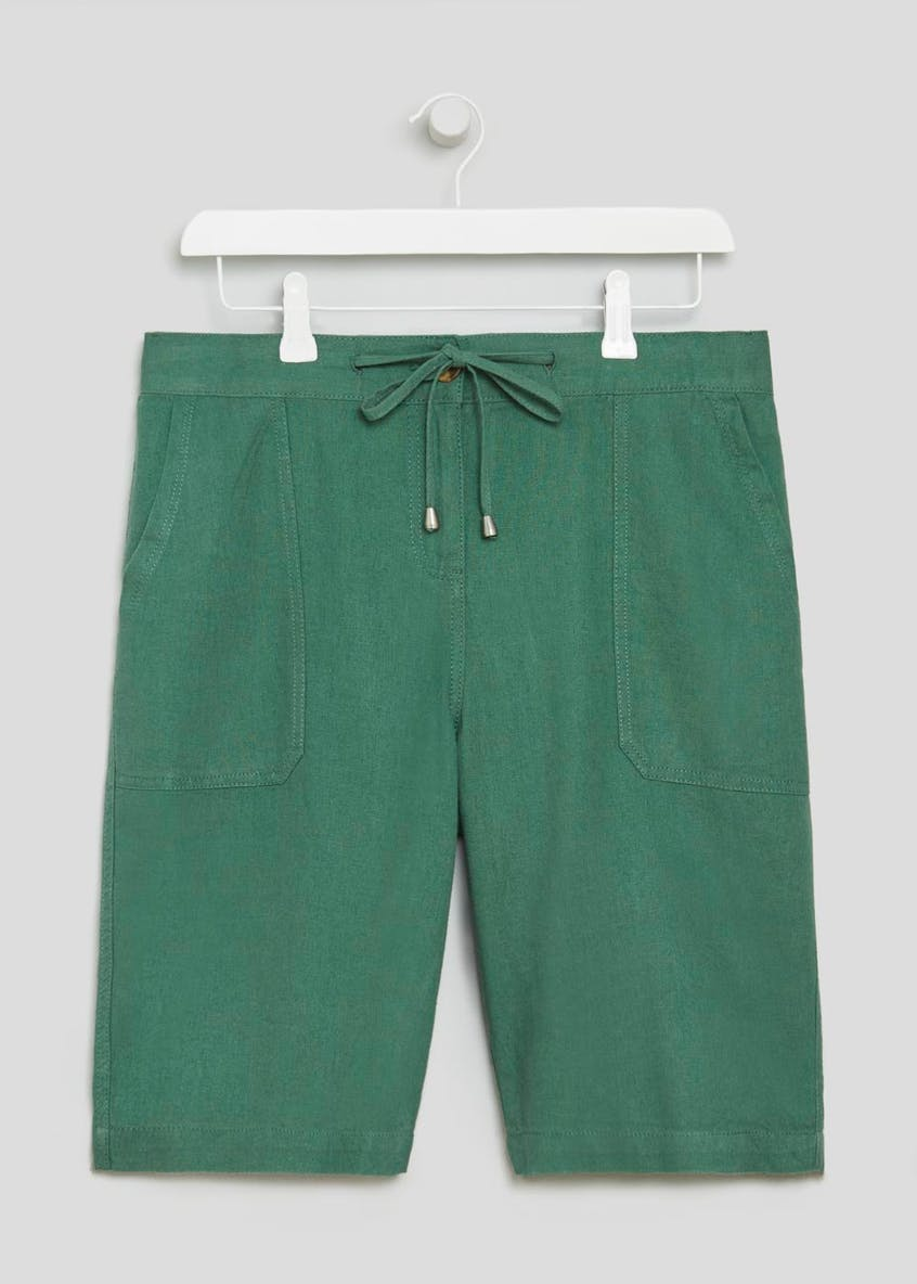 Linen Blend Knee Length Bermuda Shorts