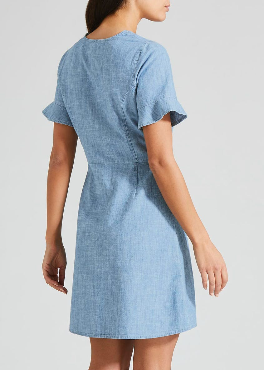 Denim Button Front Tea Dress