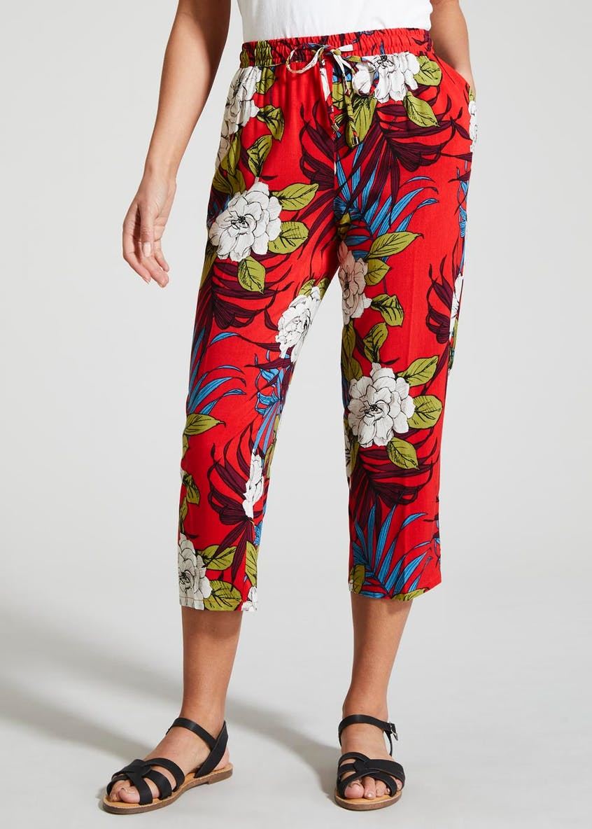 Floral Viscose Cropped Trousers