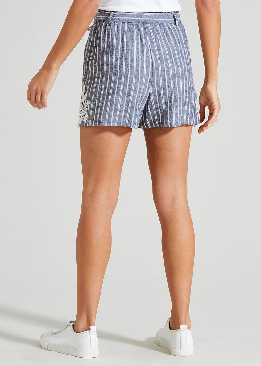 Stripe Crochet Hem Shorts
