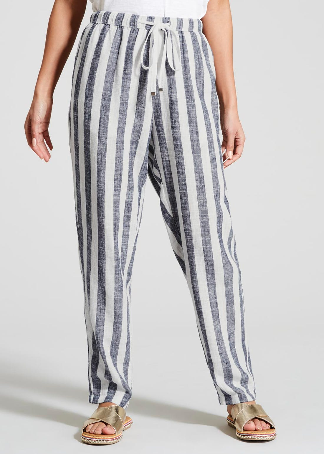 Stripe Linen Blend Tapered Trousers