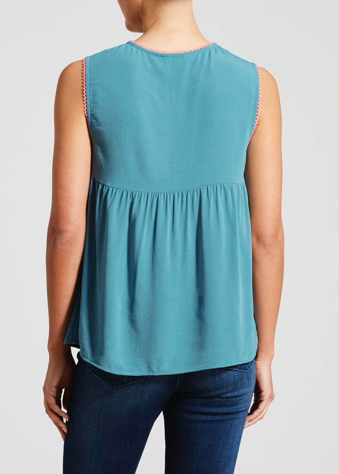 Falmer Teal Sleeveless Floral Embroidered Blouse