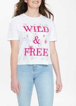 Girls Candy Couture Wild & Free Slogan T-Shirt (9-16yrs)
