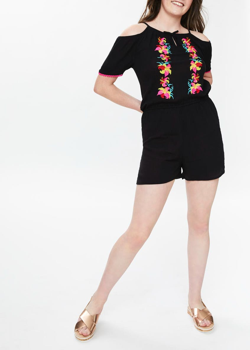 Girls Candy Couture Embroidered Cold Shoulder Playsuit (9-16yrs)