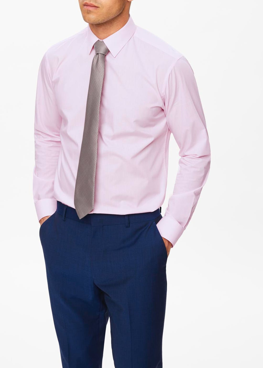 Regular Fit Twill Shirt & Tie Set