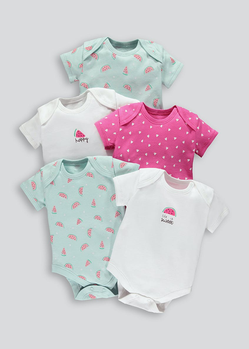 Girls 5 Pack Watermelon Print Bodysuits (Tiny Baby-18mths)