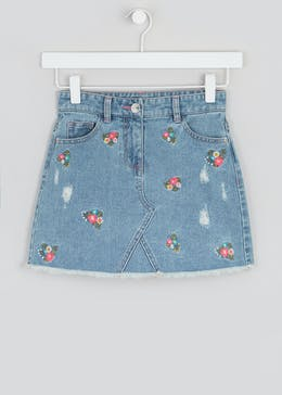 Girls Floral Embroidered Denim Skirt (4-13yrs)