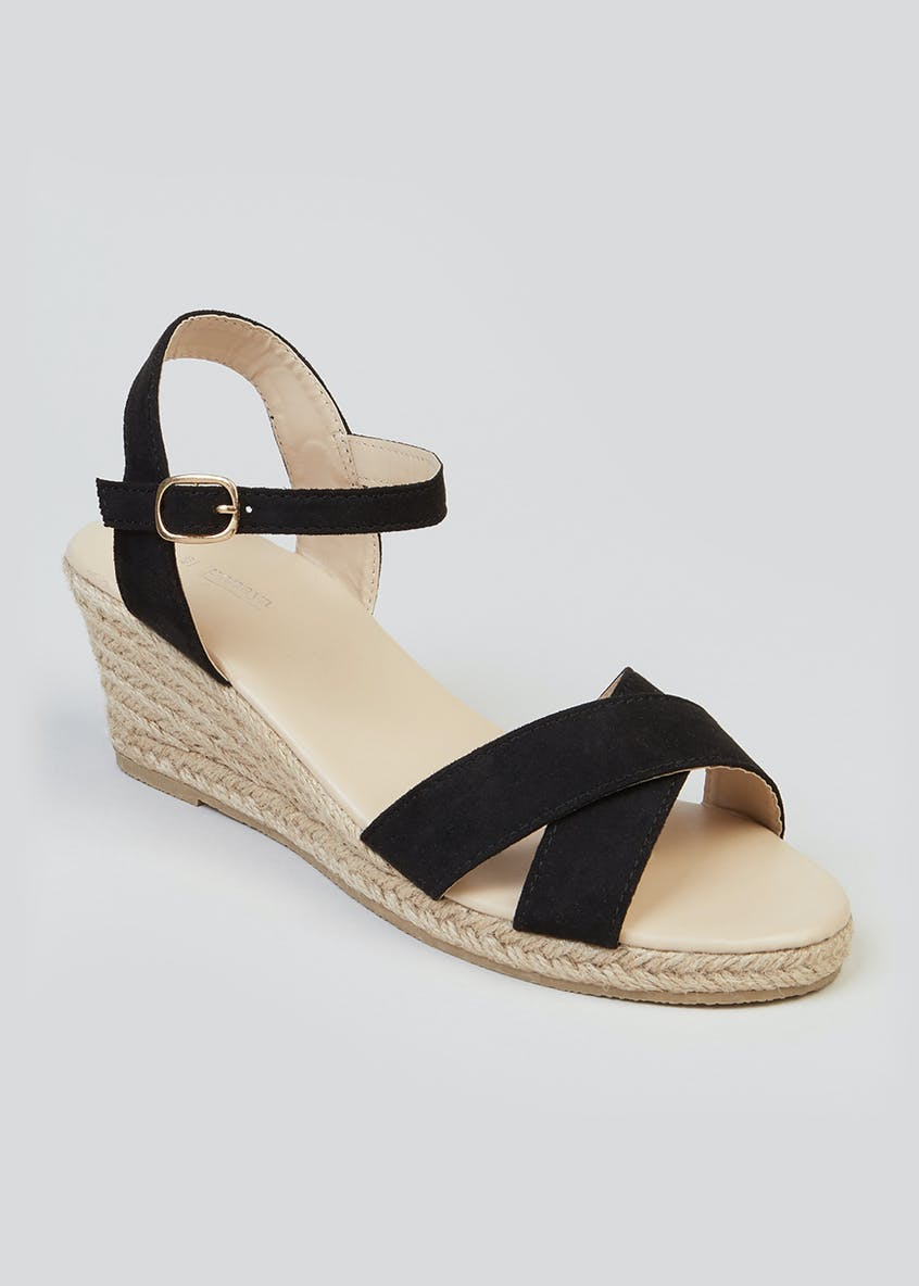 Cross-Strap Espadrille Wedges
