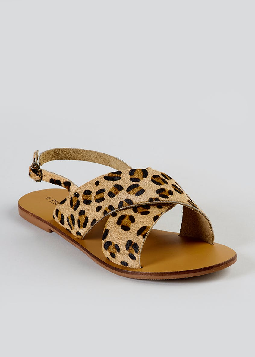 Real Leather Leopard Print Cross-Strap Sandals