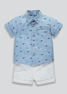 Boys Boat Print Shirt & Shorts Set (Newborn-18mths)